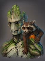 Groot and Rocket Raccoon by KetrinDarkDragon