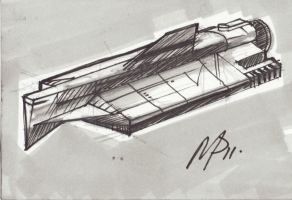 sketchcard 4 in a series of space ships by Bluedonutstudios
