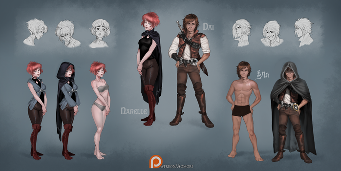 Narelle and Dai - reference sheet by Aomori