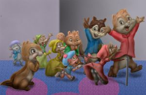 The Chipmunks play Disneyland by ElFunnimal