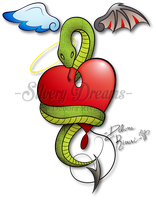Winged heart with snake by SilveryLugia