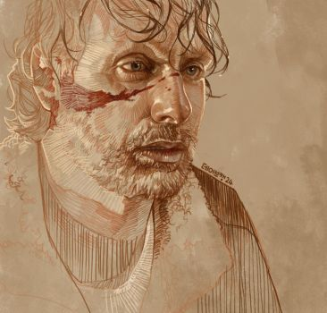 Daily Sketch 24: Rick Grimes by artandwine365