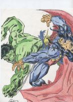 Hulk vs. Superman by calistudmuffin