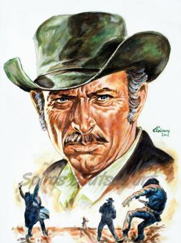 Lee Van Cleef Painting Portrait Movie Poster by SpirosSoutsos