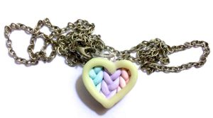 Glow in the dark heart knit necklace -Polymer clay by Ysab3lla