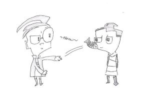 dib throwing a fish at zim :D by awootwoot