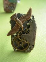 bronzed bird steampunk ring by steamedge
