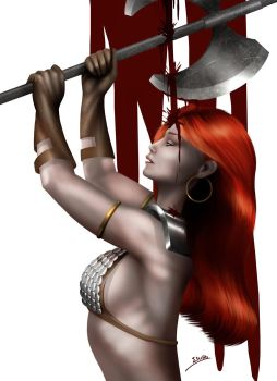 Red Sonja Bloody Pin-up by evandromenezes