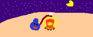 Slime in the Campfire by DragonQuestWes