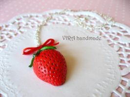 Cute strawberry bowknot necklace by virahandmade