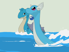 Pokemon Base 76~Lapras And Dragonair~ by Xbox-DS-Gameboy