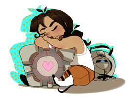 tired, tiny chell + wheatley by kyoukorpse