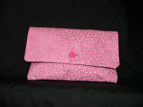 pink clutch purse with stars by crawl27