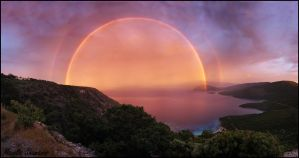 Sunset Rainbow Samos Island Greece by jswis