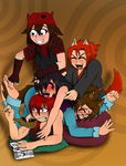 DOG PILE! by LycanthropAsh