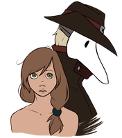 little red and plague doctor by ClockworkLyre
