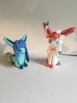 Glaceon and Sylveon by PopSculpture