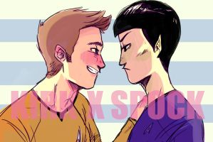 Kirk X Spock Postcard by shark-bomb