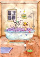 Finished: Bathing with Bubbles by schwarzdrossel
