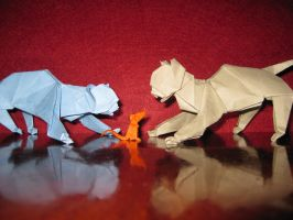 Playing Cats - Origami by mitanei