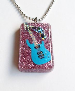 Blue and pink Guitar pendant by evrythngsblue