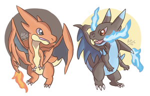 Mega Charizard X and Y chibi by FunSizeMini