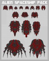 Alien Spaceships Sprite Pack by pzUH