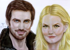 Captain Hook and Emma Swan by tanjadrawing