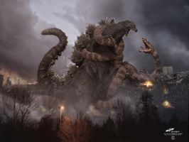 zGodzilla vs Manda color version by dopepope
