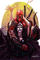 Deadpool and Mistress Death (Commission) by emmshin