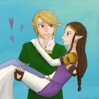 Zelda and Link by TsumetaiKaze96