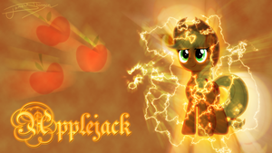 Applejack (Lightning Background) by Jamey4