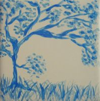 Tile painting #1: Blue Tree by letmeusemyname