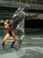 Wonder Woman punches robot: frame 1 by DahriAlGhul