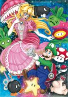 Super Smash Bros - Fanart Princess Peach and Luigi by CrisAngy88