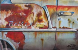 Rusty 1955 Chevy Belair Close Up Painting by FastLaneIllustration