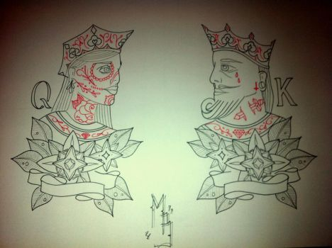 Queen King Traditional Tattoo by booders9