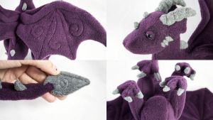 Dark Purple Dragon Plush Details by BeeZee-Art