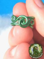 Wave-Rose Ear Cuff in Green by TheWingedBoggart