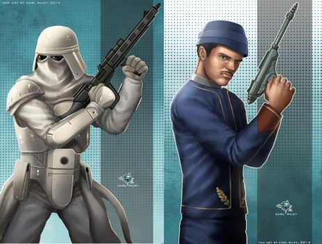 Star Wars Snowtrooper and Bespin Guard by Carl-Riley-Art