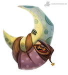 Daily Painting #944. Sloth Moon (OG) by Cryptid-Creations