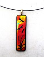 Dragonfly Sunset Fused Glass Necklace Pendant by FusedElegance