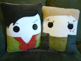 Supernatural Lucifer and Gabriel pillows by Telahmarie