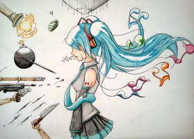 Miku-world war by Hhell