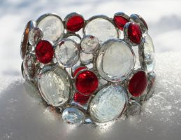 Garnet Jewel Candle Holder by AlyKatGlassCreations