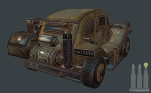 3D Steampunk War Vehicle (Low Poly) by polbrainstorm
