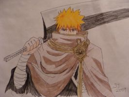 Ichigo with his Zanpakuto by IvoryPhoenix