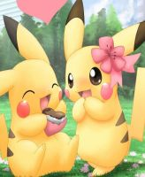 Pikachu love by saphirathehedgehog1
