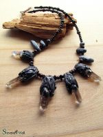 Necklace with smokey quartz points by SuvetarsWell