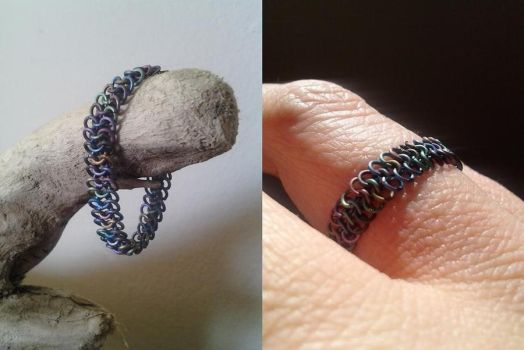 Titanium micromaille ring by wirewear